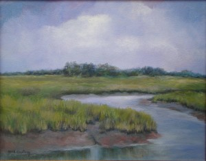 Lady's Island Low Tide, oil-canvas, 14x11, framed