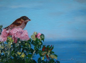Mabelle's Sparrow, oil-copper, 3in x 5 in