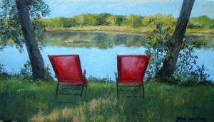 Queen Debbie and King George Chairs, oil on canvas, 9 x 11