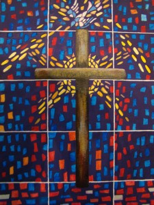Stained-Glass Cross acrylic on paper, 14 x 11