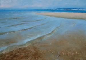Calm Sea in Truro, oil on copper, 7 x 5