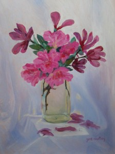 Early Blooms oil on copper, 19 x 14