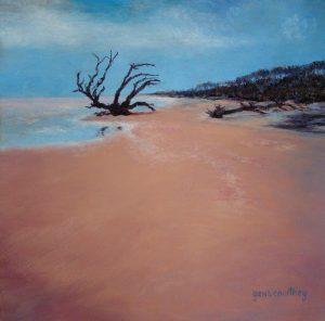 Low Tide on Driftwood Beach, oil on copper, 12 x 12