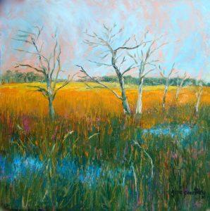 Morning Marsh, oil on copper, 12 x 12