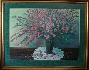 Peach Blossoms acrylic, 40 x 50  framed & matted