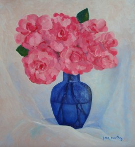 Pink Camellias with Blue Vase oil on copper, 15 x 14