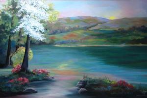 Spring Fantasy acrylic on canvas  24 x 36, framed