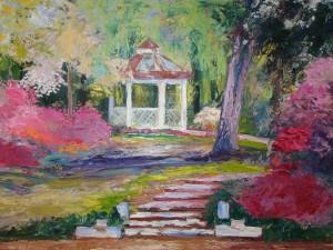 Spring Garden acrylic, silver frame 24 x 36
