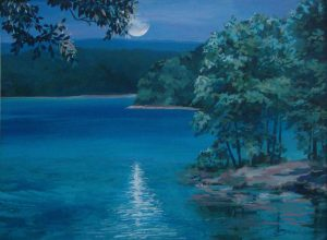 Supermoon Over the Lake acrylic, double-matted 15 x 19
