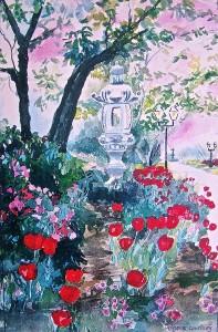 Yoshino Cherry Blossom Time watercolor,18 x 12 SOLD