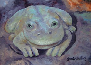 Frog #1 oil on copper, 8 x 5