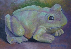 Frog #3  oil on copper, 8 x 5