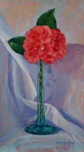 Red Camellia oil on copper, 18x10