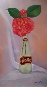 Yoo-Hoo Camellia, oil on copper, 10 x 18