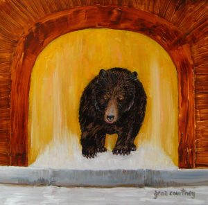 Fluffy the Doorbear, oil on copper, 12 x 12