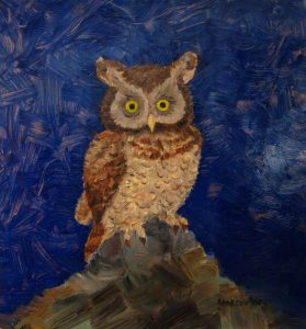 Kyrie Castle Owl, oil on copper, 11 x 10