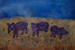 Purple Tapirs of Kyrie Castle, oil on copper, 8 x 10 width=
