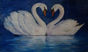 Snowy Swans, oil on copper, 6 x 10