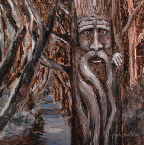 The Tarn Tree Man, oil on copper, 12 x 12