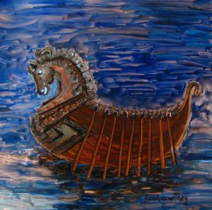 Viking Longship, oil on copper, 12 x 12