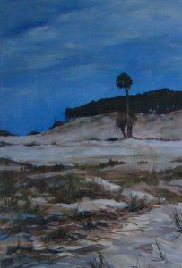 North Beach Palm, acrylic on paper, 28 x 22