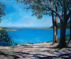Plum Orchard Bay, acrylic on canvas, 24 x 28