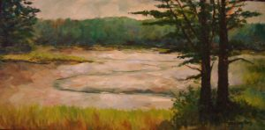 Ebb Tide at East Boothbay, Maine, oil on canvas, 12 x 24