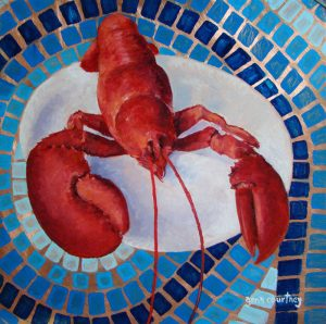 Lobster #1, oil on copper, 12 x 12