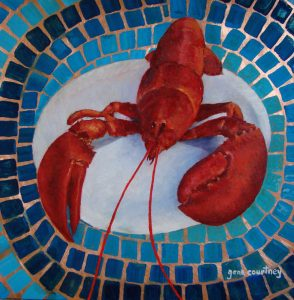 Lobster #2, oil on copper, 12 x 12