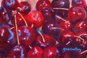 Maine Cherries, oil on copper, 4 x 6
