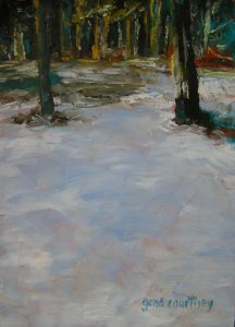 Snowy Woods, oil on copper, 7 x 5